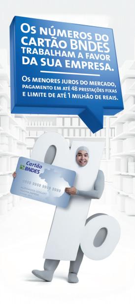 Os números do Cartão BNDES trabalham a favor da sua empresa. Os melhores juros do mercado, pagamento em até 48 prestações fixas e limite de até 1 milhão de reais.